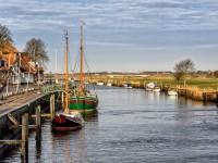 Harbor in medieval city of Ribe, Denmark