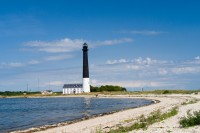 Sorve lighthouse against blue sky, Saaremaa island, Estonia